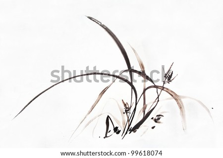 An elegant orchid flower--Traditional Chinese brush Painting