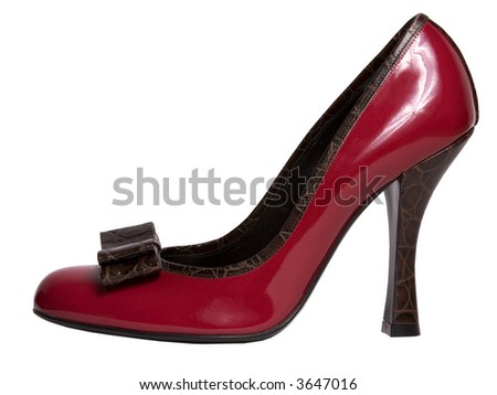 an elegant red shiny shoe