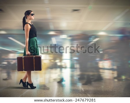 An elegant tourist airport approaching the gate - stock photo