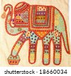 An elephant background with multi color threads - stock photo