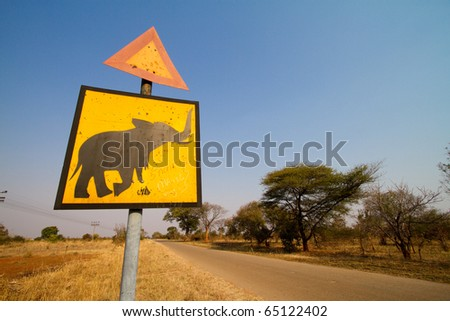 An elephant crossing sign in Zimbabwe - stock photo