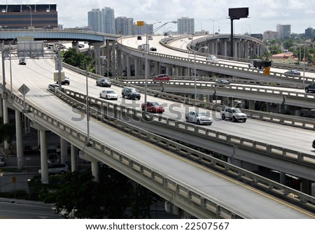 An elevated expressway interchange. - stock photo