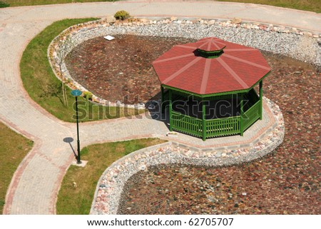 an elevated view of a bower in the park - stock photo