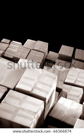 an elevated view of cardboards stack in a row - stock photo