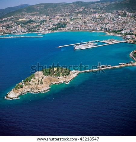 an elevated view of Kusadasi and the sea - stock photo
