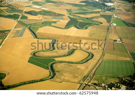 an elevated view of landscape in nature - stock photo