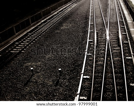 an elevated view of railway in the city - stock photo