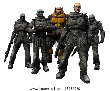 An elite squad of space marines stands ready for battle, 3d digitally rendered illustration - stock photo