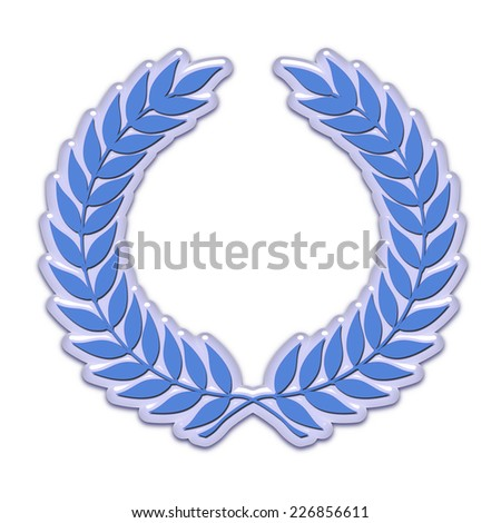 An embossed laurel wreath symbol in blue - stock photo