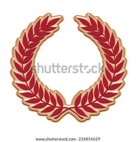 An embossed laurel wreath symbol in red - stock photo