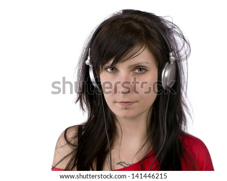 An emo girl with huge headphones on