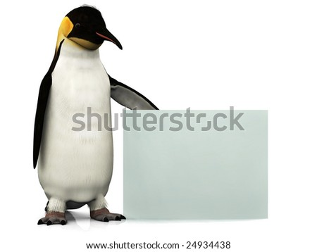 An emperor penguin holding a blank sign. - stock photo