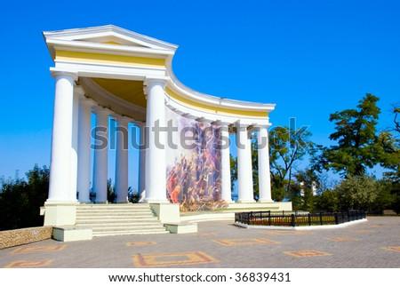 An empire style colonnade in Odessa, Ukraine - stock photo