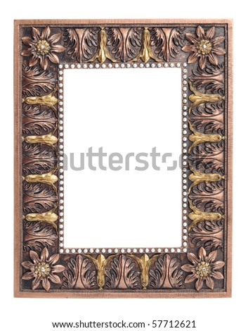 An empty, antique looking photo frame. - stock photo