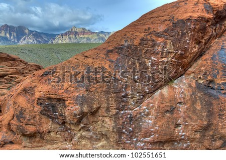 An Empty Area of a Climbing Wall in Red Rocks, Nevada - stock photo
