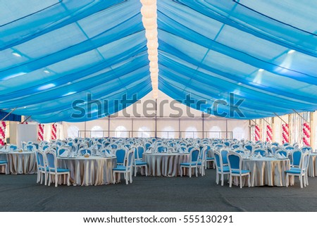 Big tent with blue curtains tables and chairs for a & Empty Banquet Hall Big Tent Blue Stock Photo 555130291 - Shutterstock