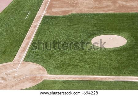An empty baseball field. - stock photo