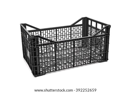 an empty black plastic crate on a white background