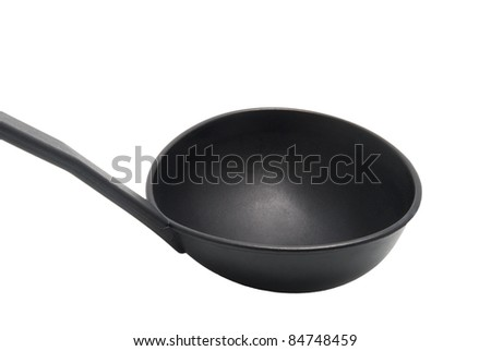 An empty black plastic soup ladle on a white background - stock photo