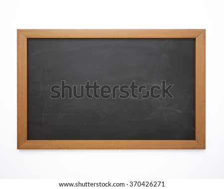 An empty blackboard isolated on white background. The blackboard has dirty chalk texture and a brown wood frame. Great use for drawing diagrams, for menus, for business and for educational concepts.  - stock photo
