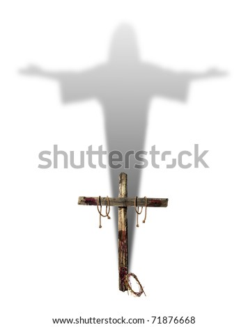 An empty bloody cross casting the shadow of Jesus Christ representing the hope of salvation for Christians. - stock photo