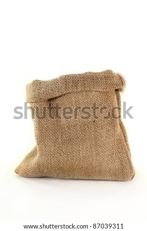 an empty burlap sack on a white background - stock photo