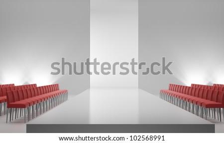 An empty catwalk - fashion show interior - stock photo