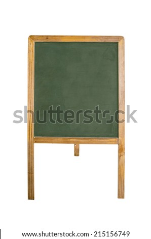 An empty chalk board on tripod over white background - stock photo