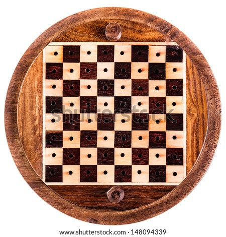 an empty circular wooden chess board isolated over white - stock photo