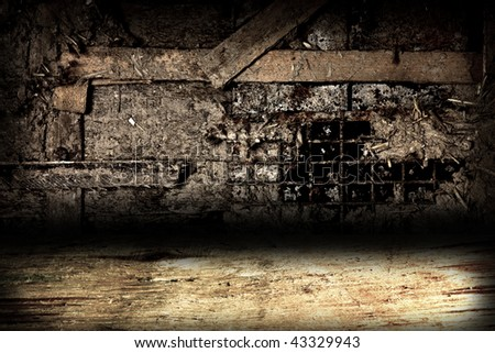 An empty dark room - stock photo