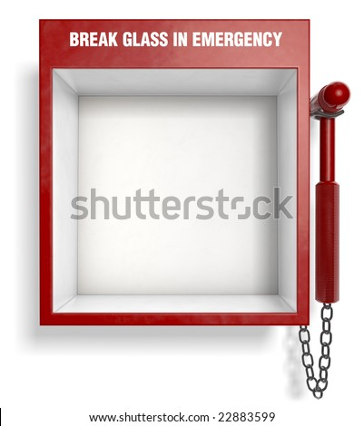 An empty fire extinguisher emergency box. Easily place your own objects inside! - stock photo