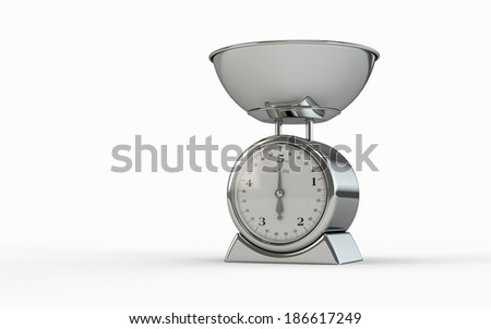 An empty food scale isolated on white background - stock photo