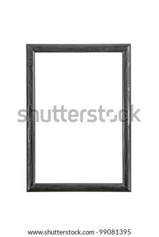 An empty frame on a white wall - stock photo