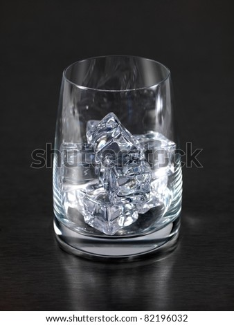 An empty glass isolated on a kitchen bench with ice cubes