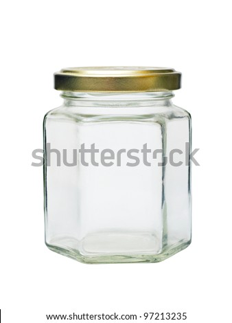 an empty glass jar with metal lid isolated on white background