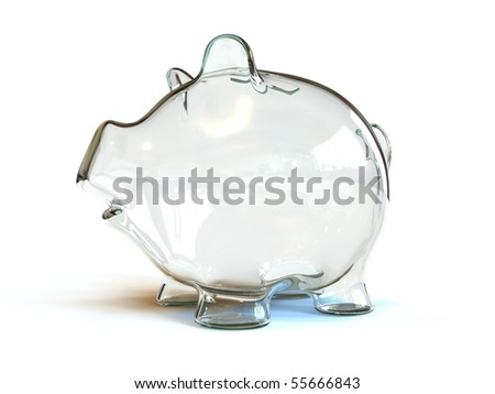An empty glass piggy bank - stock photo