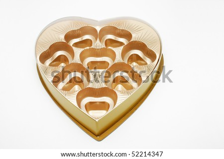 An empty golden heart shape chocolate box. - stock photo