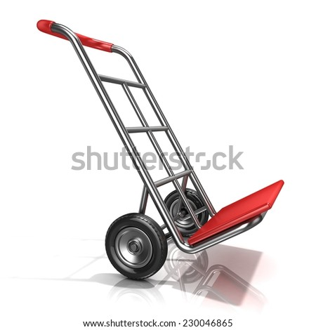 An empty hand truck, isolated on white background. 3D render illustration. Moving position, side view - stock photo