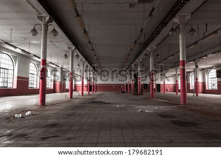 an empty industrial warehouse interior, old beer house - stock photo