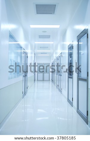 an empty laboratory corridor