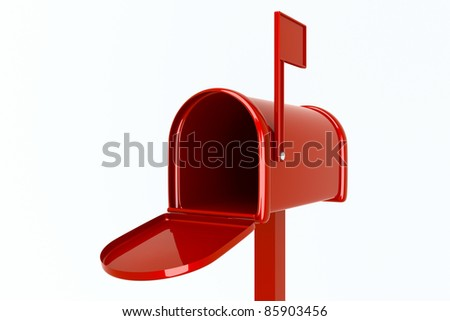 an empty mailbox isolated on white - stock photo