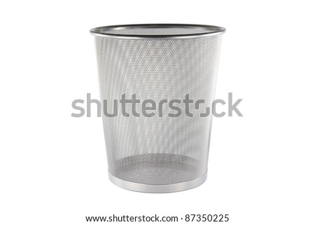 An empty metal trashcan (bin) isolated on white background - stock photo