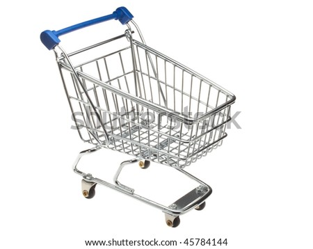 An empty miniature shopping cart viewed at an angle - stock photo