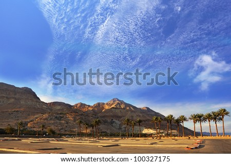 An empty parking lot at the Dead Sea. Gorgeous day in January, a clear sky and clear air. Israel - stock photo