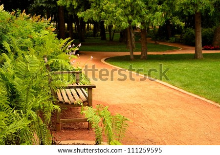 An empty path through the park in the summer day - stock photo