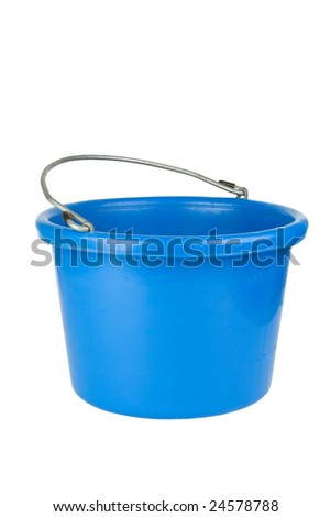 An empty, plain, plastic blue bucket. With clipping path. Isolated.