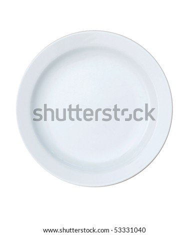 An empty plate on a table - stock photo