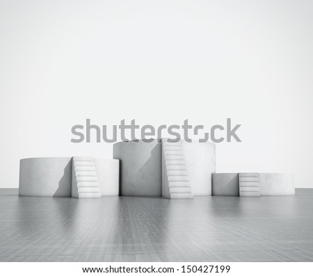 an empty podium with stairs