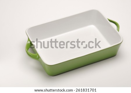 An empty  porcelain baking tray. - stock photo