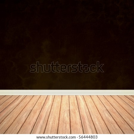An empty room interior backdrop with hard wood flooring and a brown grungy wall. - stock photo